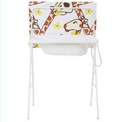 Banheira Portátil com Trocador Girafa Standard-Galzerano - Branco / Marrom
