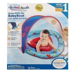 Boia Inflável com cobertura para Bebê Baby Boat Swim School AZUL