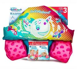 Boia Colete Infantil Salva Vidas - Swimschool - 4 a 6 anos - ROSA