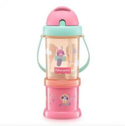 Copo Com Porta Snack Playfyl Rosa Summer Sky Fisher Price