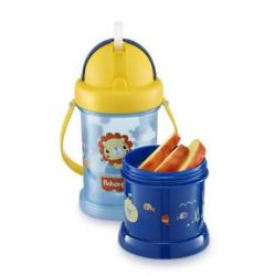 Copo Com Porta Snack Playfyl Azul Summer Sky Fisher Price